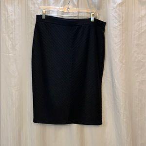 Black knee length pencil skirt w/ diagonal design
